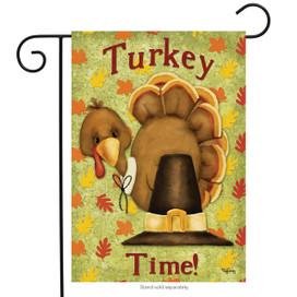 Turkey Time Thanksgiving Garden Flag