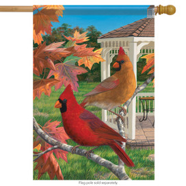 Crimson Afternoon Cardinals House Flag
