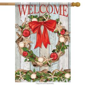 Driftwood Wreath Christmas House Flag