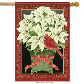 Poinsettia Pot Christmas House Flag