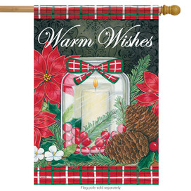 Holiday Candle Christmas House Flag