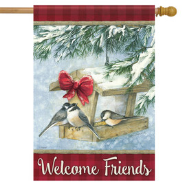 Christmas Feast Birdhouse House Flag