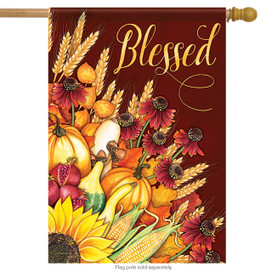 Wheat Bouquet Blessed Fall House Flag