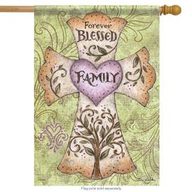 Forever Family Cross House Flag