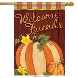 Pumpkin Stripes Fall Welcome House Flag