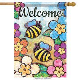 Bumble Blossoms Bee Welcome Summer House Flag