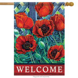 Scarlet Poppies Spring Welcome House Flag