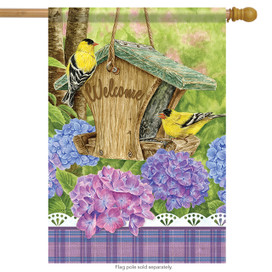 Finch Feeder Welcome Spring House Flag