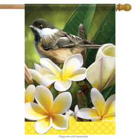 Blossoming Chickadee Spring House Flag