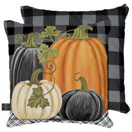 Checkered Pumpkins Fall Decorative Pillow