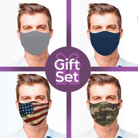 Dark Colors/Patterns Reusable Cloth Face Mask Gift Set (4-piece Collection)