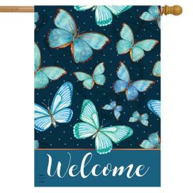 Blue Butterflies Spring House Flag