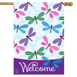 Welcome Dragonflies Spring House Flag