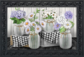 Checkered Mason Jars Spring Doormat