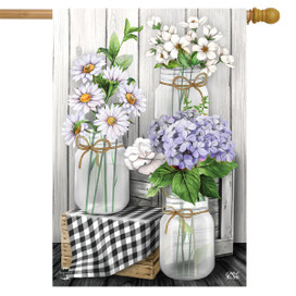 Checkered Mason Jars Spring House Flag