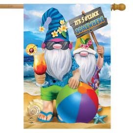 Summer Gnomes Humor House Flag