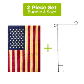 Tea Stained Embroidered American Garden Flag + 3-Piece Garden Flag Stand Set