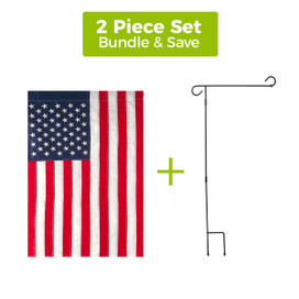 "Embroidered American Garden Flag 12.5"" x 18"" + 3-Piece Garden Flag Stand Set"