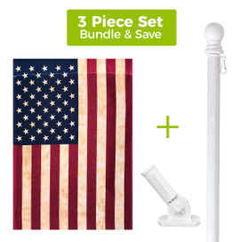 Tea Stained American House Flag + White Metal Flag Pole + Adjustable Bracket Set