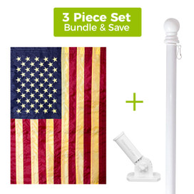 Tea Stained Embroidered American House Flag, White Metal Flag Pole & Bracket Set