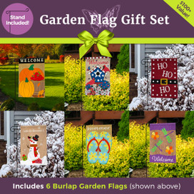 Ultimate Burlap Garden Flag Gift Set  - 6 Flags & 3-Piece Garden Flag Stand