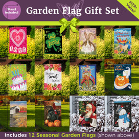 Ultimate Garden Flag Gift Set  - 12 Flags + 3-Piece Stand