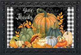 Checkered Give Thanks Primitive Doormat