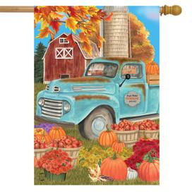 Fresh Picked Pumpkins Fall House Flag