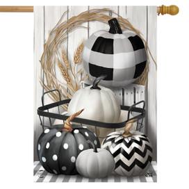 Black & White Pumpkins Fall House Flag