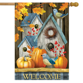 Rustic Fall Birdhouse Welcome House Flag