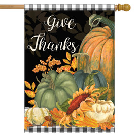 Checkered Give Thanks Primitive House Flag