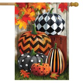 Patterned Pumpkins Autumn House Flag