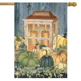 Autumn's Glow Lantern Farmhouse House Flag