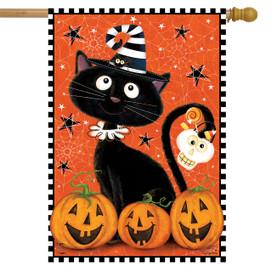 Black Kitty Halloween House Flag