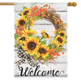 Sunflower Fall Wreath Welcome House Flag