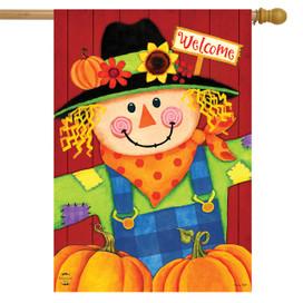 Scarecrow and Pumpkins Autumn House Flag
