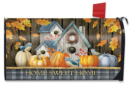 Rustic Fall Birdhouse Welcome Mailbox Cover
