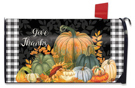 Checkered Give Thanks Primitive Mailbox Cover