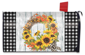 Sunflower Fall Wreath Welcome Mailbox Cover