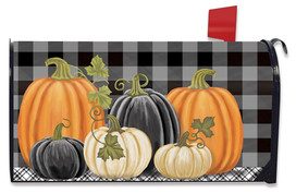 Checkered Pumpkins Primitive Large / Oversized Mailbox Cover