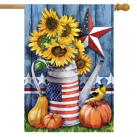 American Autumn Farmhouse House Flag