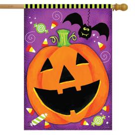 Halloween Treats Jack O'lantern House Flag
