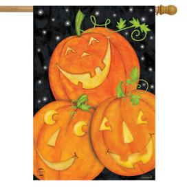 Happy Pumpkin Trio Halloween House Flag