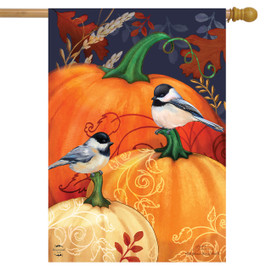 Pumpkins and Chickadees Fall House Flag