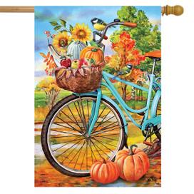 Autumn Bicycle House Flag