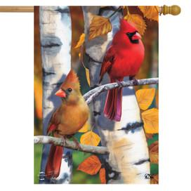 Birch Tree Cardinals Fall House Flag