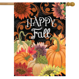 Happy Fall Chalkboard Floral House Flag