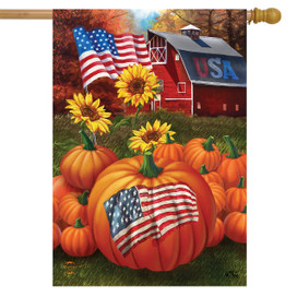 USA Pumpkins Fall House Flag