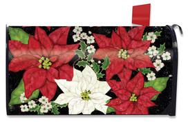 Festive Poinsettias Christmas Mailbox Cover