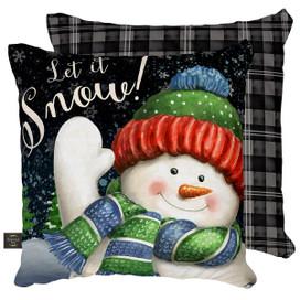 Snow Time Snowman Winter Decorative Pillow